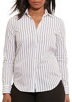Lauren Ralph Lauren Plus Size Striped Cotton Shirt