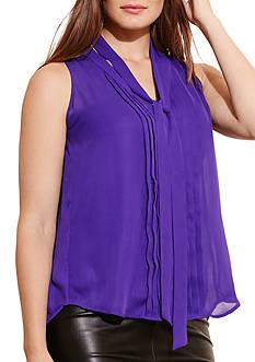 Lauren Ralph Lauren Plus Size Pleated-Front Georgette Top