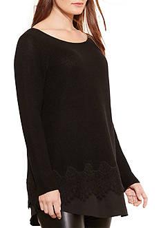 Lauren Ralph Lauren Plus Size Layered Lace-Hem Sweater