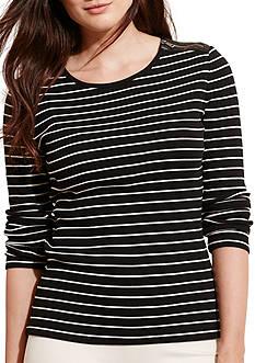 Lauren Ralph Lauren Plus Size Striped Zip-Shoulder Top