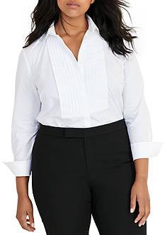 Lauren Ralph Lauren Plus Size Cotton Poplin Bib Top