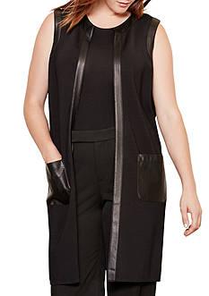 Lauren Ralph Lauren Plus Size Faux Leather Trim Vest