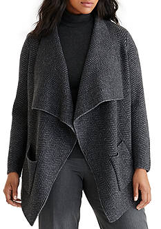 Lauren Ralph Lauren Plus Size Wool Herringbone Cardigan