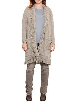 Lauren Ralph Lauren Plus Size Fringed Merino Wool Cardigan