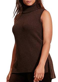 Lauren Ralph Lauren Plus Size Wool Sleeveless Turtleneck