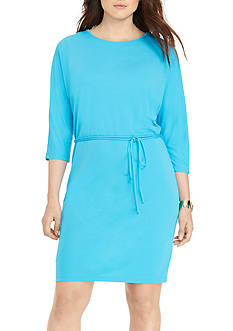 Lauren Ralph Lauren Plus Size Matte Jersey Long Sleeve Casual Dress