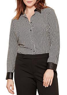 Lauren Ralph Lauren Plus Size Ocelot-Print Crepe Shirt