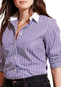 Lauren Ralph Lauren Plus Size Striped Stretch Cotton Shirt