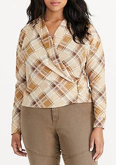 Lauren Ralph Lauren Plus Size Plaid Crepe Wrap Shirt
