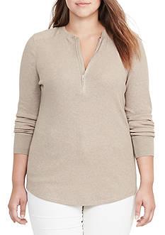 Lauren Ralph Lauren Plus Size Cotton Half-Zip Shirt