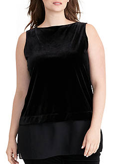 Lauren Ralph Lauren Plus Size Sheer-Hem Velvet Top