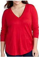 Lauren Ralph Lauren Plus Size Silk-Blend V-Neck