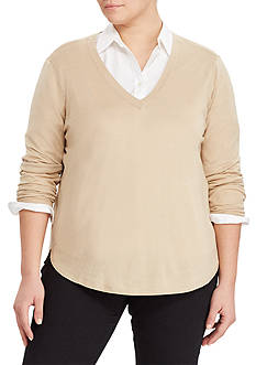 Lauren Ralph Lauren Plus Size Silk-Blend V-Neck Sweater