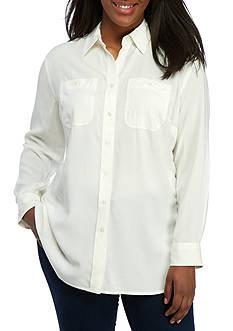 Lauren Ralph Lauren Plus Size Alishia Long Sleeve Shirt