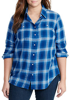 Lauren Ralph Lauren Plus Size Plaid Cotton Twill Shirt
