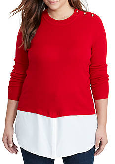 Lauren Ralph Lauren Plus Size Layered Wool Sweater