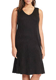 Lauren Ralph Lauren Geometric-Knit Ruffled Dress