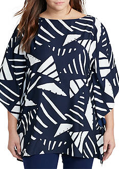 Lauren Ralph Lauren Plus Size Graphic-Print Poncho