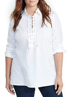 Lauren Ralph Lauren Plus Size Lace-Up Broadcloth Tunic