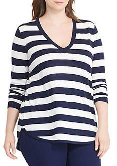 Lauren Ralph Lauren Plus Size Silk-Blend V-Neck Sweater