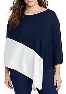 Lauren Ralph Lauren Plus Size Asymmetrical Silk-Blend Poncho