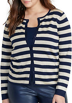 Lauren Ralph Lauren Plus Size Striped Metallic Cardigan