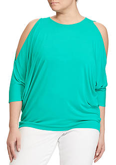 Lauren Ralph Lauren Plus Size Cutout-Shoulder Jersey Top