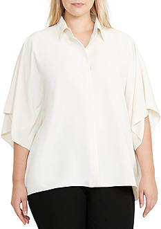 Lauren Ralph Lauren Plus Size Draped Button-Up Blouse
