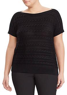 Lauren Ralph Lauren Plus Size Cable Short-Sleeve Sweater