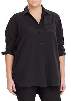 Lauren Ralph Lauren Plus Size Crepe Long-Sleeve Tunic