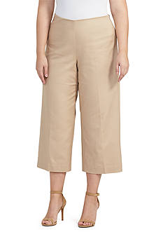 Lauren Ralph Lauren Plus Size High-Rise Wide-Leg Pants