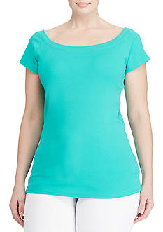 Lauren Ralph Lauren Plus Size Cotton Off-the-Shoulder Tee