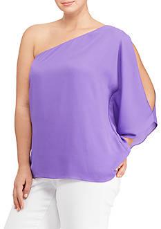 Lauren Ralph Lauren Plus Size Georgette One-Shoulder Top