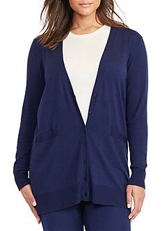 Lauren Ralph Lauren Plus Size Cotton-Blend V-Neck Cardigan