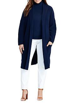 Lauren Ralph Lauren Plus Size Ribbed Cotton Cardigan