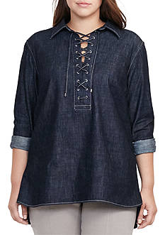 Lauren Ralph Lauren Plus Size Lace-Up Denim Tunic