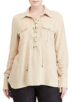 Lauren Ralph Lauren Plus Size Lace-Up Crepe Tunic