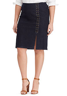 Lauren Ralph Lauren Plus Size Lace-Up Denim Pencil Skirt