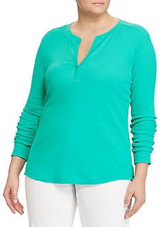Lauren Ralph Lauren Plus Size Split-Neck Cotton Henley