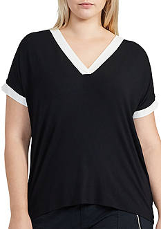 Lauren Ralph Lauren Plus Size Color-Blocked Jersey Top