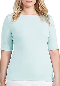 Lauren Ralph Lauren Plus Size Stretch Cotton Boatneck Tee