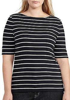 Lauren Ralph Lauren Plus Size Judy Elbow Sleeve Top