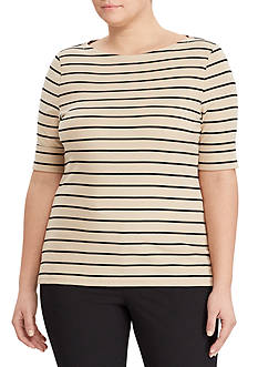 Lauren Ralph Lauren Plus Size Boat Neck Stretch Cotton Tee
