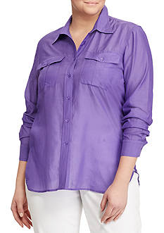 Lauren Ralph Lauren Plus Size Cotton-Silk-Voile Shirt