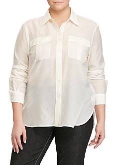 Lauren Ralph Lauren Plus Size Cotton-Silk-Voile Shirt