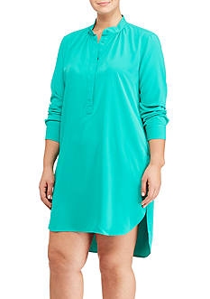 Lauren Ralph Lauren Plus Size Crepe de Chine Shirtdress