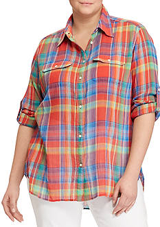 Lauren Ralph Lauren Plus Size Plaid Crinkled Cotton Shirt