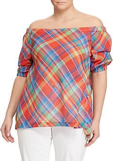 Lauren Ralph Lauren Plus Size Plaid Off-the-Shoulder Top