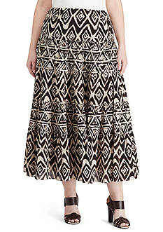 Lauren Ralph Lauren Plus Size Geometric Cotton Maxi Skirt