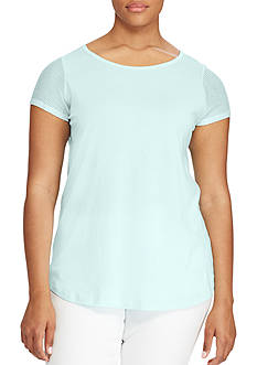 Lauren Ralph Lauren Plus Size Mesh-Sleeve Stretch Cotton Tee